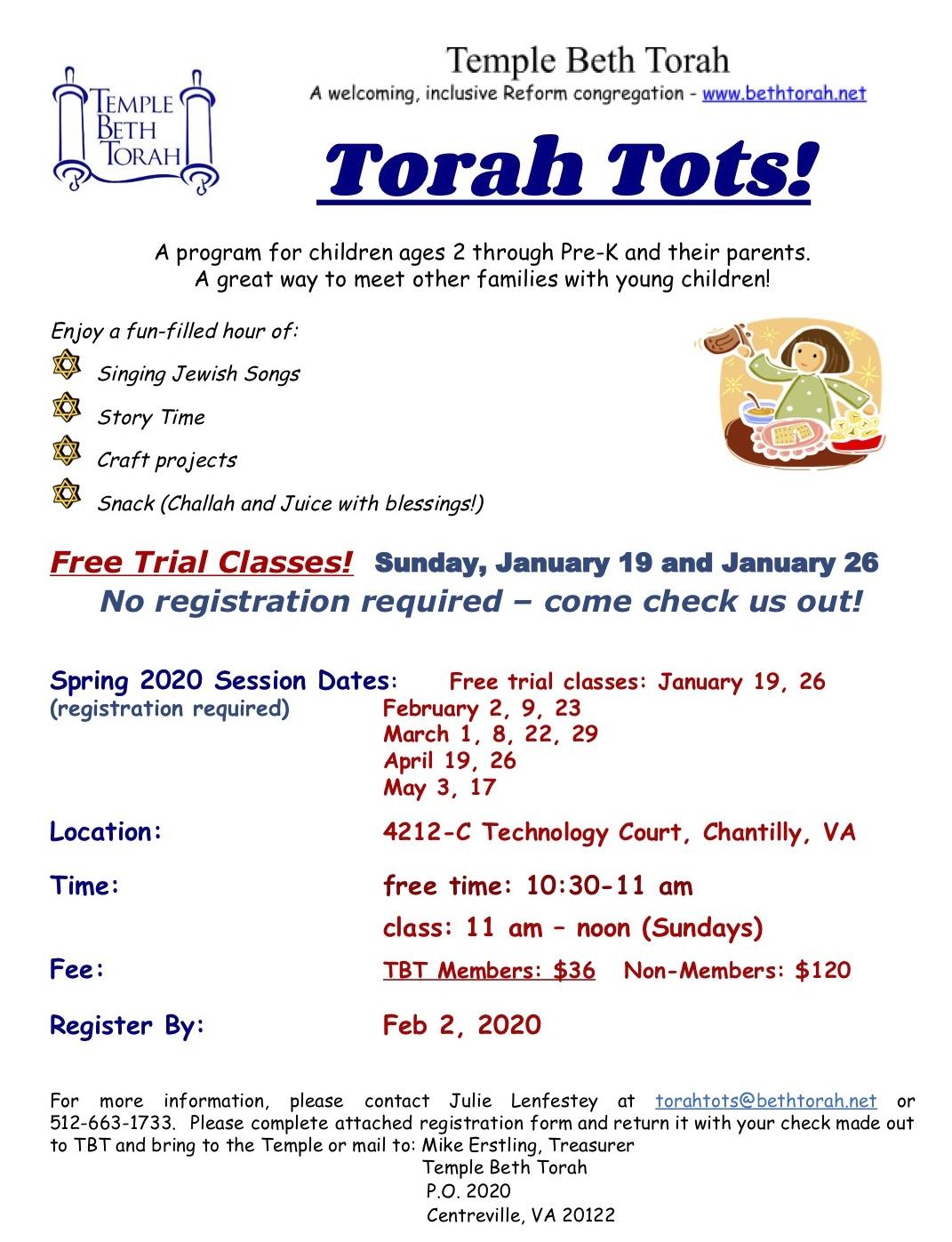 Torah Tots Spring 2020