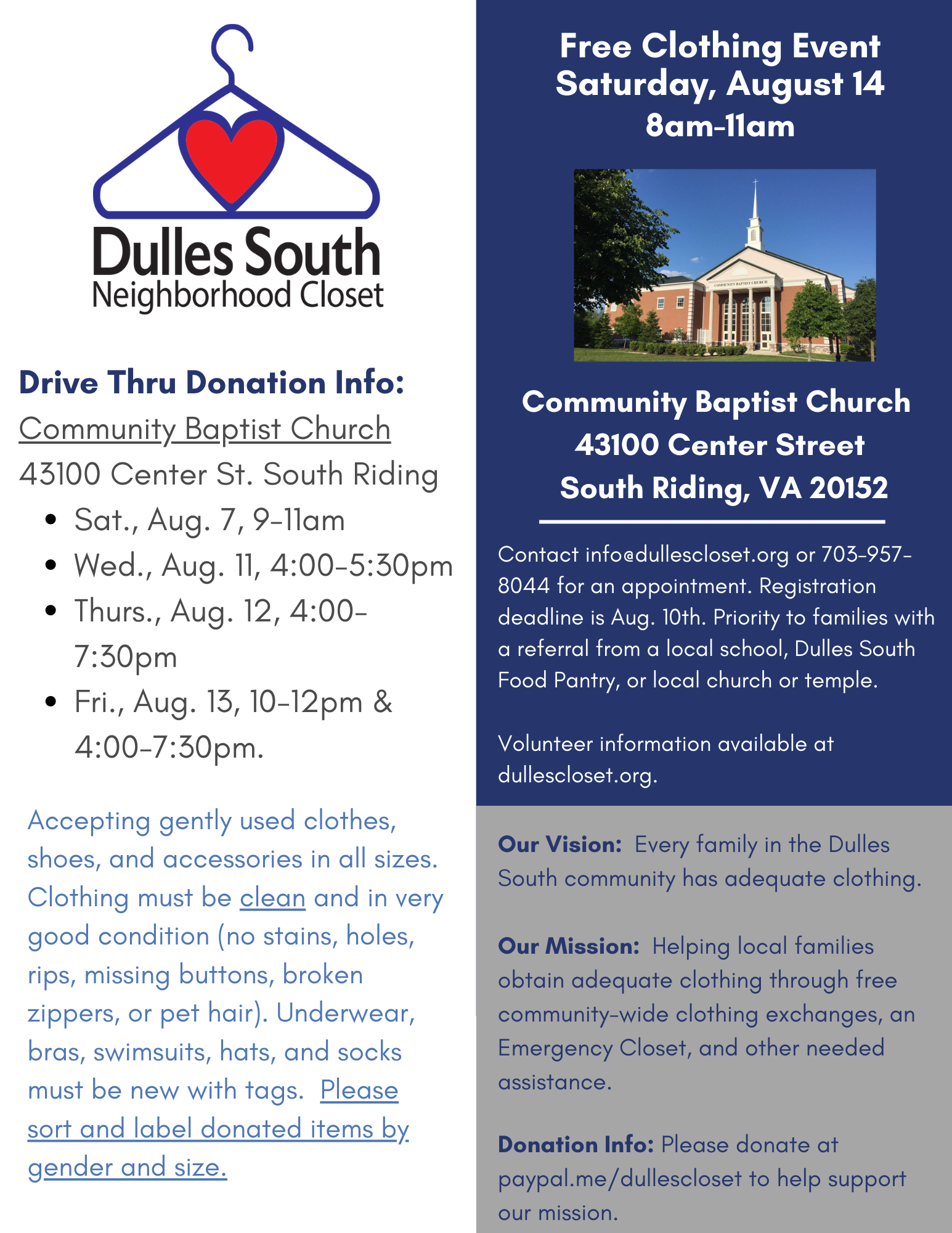 Dulles South Neighborhood Closet August Clothing Drive