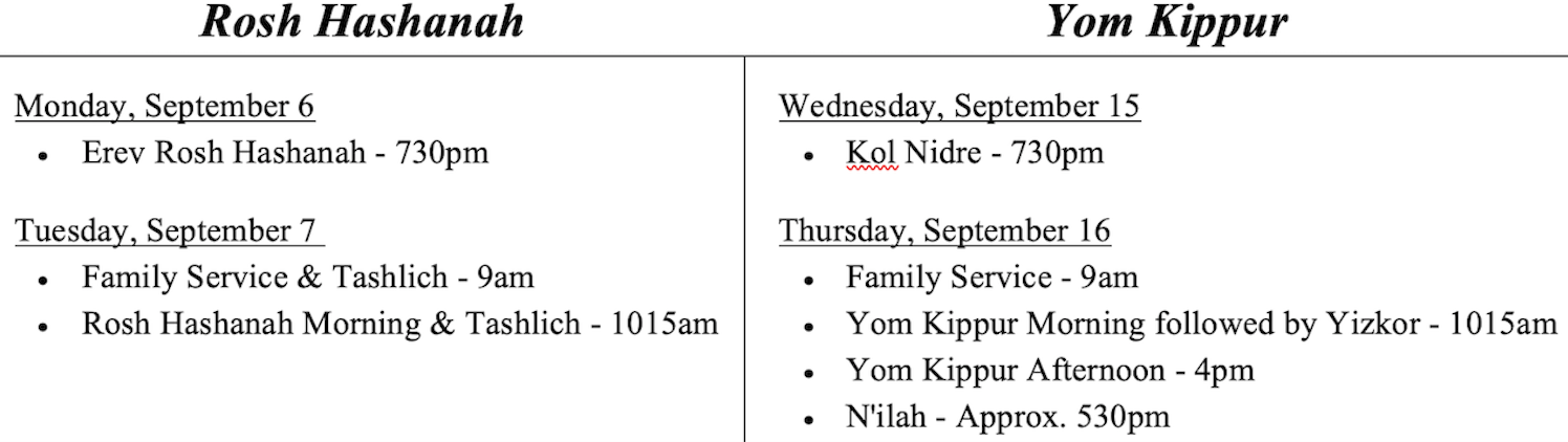 high holiday schedule